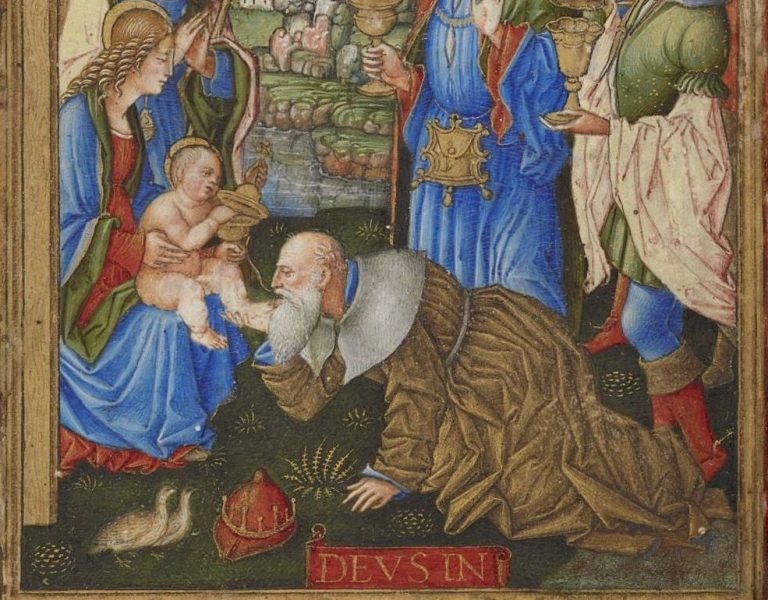 Adoration of the Magi, Sforza Hours, f.1, 1490's crop