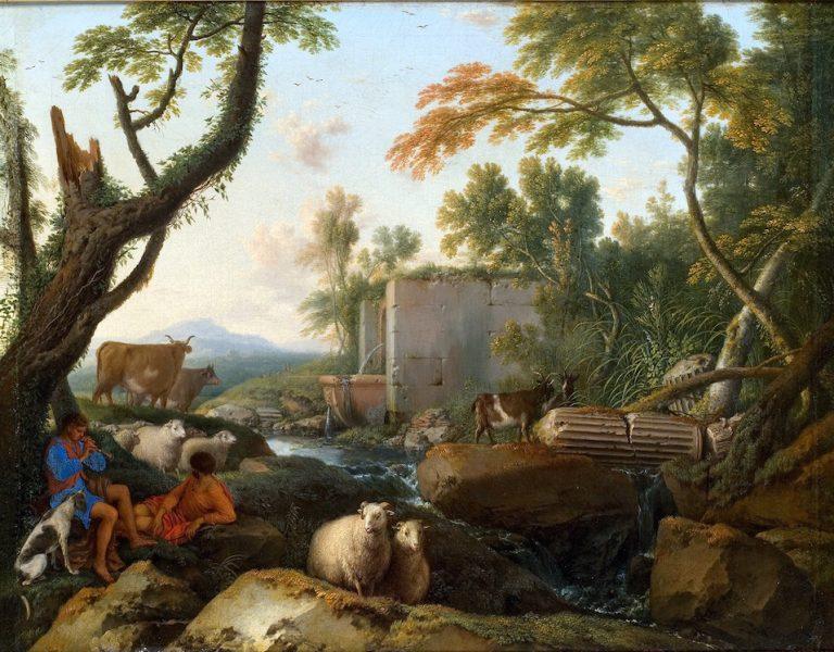 Landscape with a Shepherd Playing Flute by Laurent de La Hyre, 1647