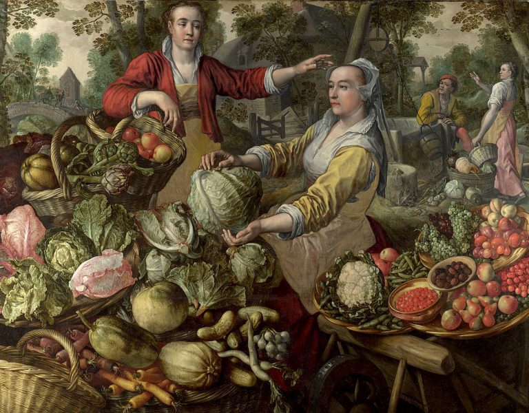 The Four Elements- Earth. A Fruit and Vegetable Market with the Flight into Egypt in the Background by Joachim Beuckelaer, 1569